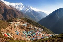 Namche bazar and mount thamserku Royalty Free Stock Image