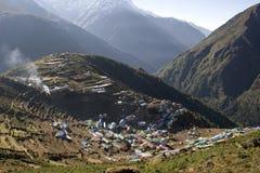 Namche Bazar - Nepal. Scenic Namche Bazar rests in a bowl stock photos
