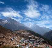 Namche Bazar view in Sagarmatha National park, Nepal Royalty Free Stock Images