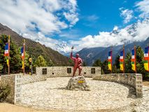 Namche, Nepal 04/12/2018 : A momument of Tenzing Norgay Sherpa, the first sherpa to reach the summit of Mount Everest. A momument of Tenzing Norgay Sherpa, the stock photography