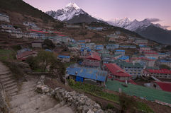 Namche. Sunset looking down on the village of Namche, Everest Region, Nepal Royalty Free Stock Images
