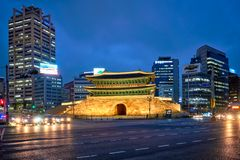 Namdaemun Gate Sungnyemun with city traffic, Seoul, South Korea stock image