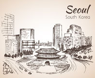 Namdaemun, the Sungnyemun - Seoul cityscape, hand drawn. South K Stock Images
