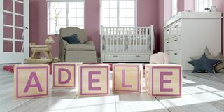The name adele written with wooden toy cubes in children`s room. 3D Illustration of the name adele written with wooden toy cubes in children`s room Stock Illustration