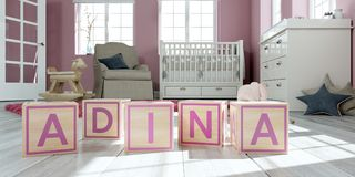The name Adina written with wooden toy cubes in children`s room. 3D Illustration of the name Adina written with wooden toy cubes in children`s room Vector Illustration