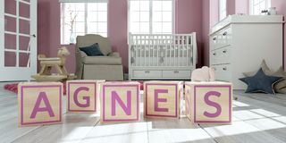 The name agnes written with wooden toy cubes in children`s room. 3D Illustration of the name agnes written with wooden toy cubes in children`s room Royalty Free Illustration