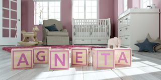 The name agneta written with wooden toy cubes in children`s room. 3D Illustration of the name agneta written with wooden toy cubes in children`s room Royalty Free Illustration