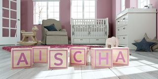 The name aischa written with wooden toy cubes in children`s room. 3D Illustration of the name aischa written with wooden toy cubes in children`s room royalty free illustration