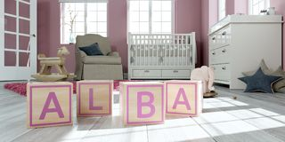 The name alba written with wooden toy cubes in children`s room. 3D Illustration of the name alba written with wooden toy cubes in children`s room royalty free illustration