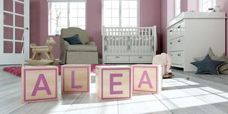 The name alea written with wooden toy cubes in children`s room. 3D Illustration of the name alea written with wooden toy cubes in children`s room stock illustration
