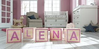 The name alena written with wooden toy cubes in children`s room. 3D Illustration of the name alena written with wooden toy cubes in children`s room stock illustration