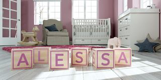 The name alessa written with wooden toy cubes in children`s room. 3D Illustration of the name alessa written with wooden toy cubes in children`s room stock illustration