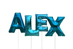 Name alex made of blue inflatable balloons isolated on white background. Name made of blue inflatable balloons isolated on white background 3D Illustration Stock Image