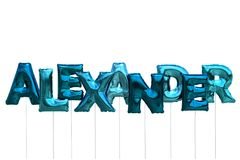 Name alexander made of blue inflatable balloons isolated on white background. Name made of blue inflatable balloons isolated on white background 3D Illustration Stock Image