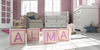The name alma written with wooden toy cubes in children`s room. 3D Illustration of the name alma written with wooden toy cubes in children`s room Royalty Free Stock Photography