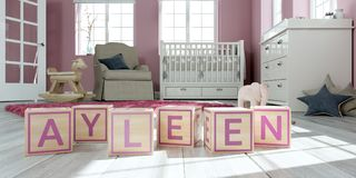 The name ayleen written with wooden toy cubes in children`s room. 3D Illustration of the name ayleen written with wooden toy cubes in children`s room stock illustration