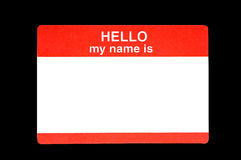 Name Badge. Red name badge with the words Hellow my name is with a clipping path stock image