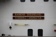 Name `Barend Biesheuvel` on a enforcement ship stock photo