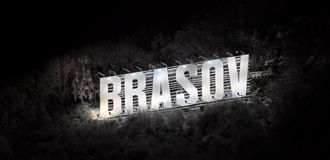 The name of the Brasov city in volumetric letters stock photos