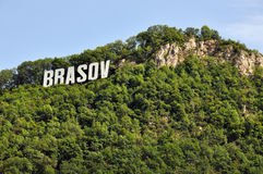 The name of the Brasov city in volumetric letters Stock Photography