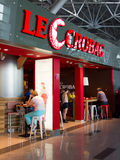 Name Cafe在伏努科沃,莫斯科,俄罗斯的Le Crobag 免版税库存照片