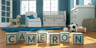 The name cameron written with wooden toy cubes in children`s room. 3D Illustration of the name cameron written with wooden toy cubes in children`s room Royalty Free Stock Photography