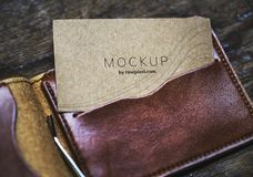 Mockup Card on Leather Wallet royalty free stock photos