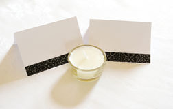 Name cards and candle Royalty Free Stock Photos