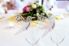 Name cards for a wedding. In the form of a bird royalty free stock photos