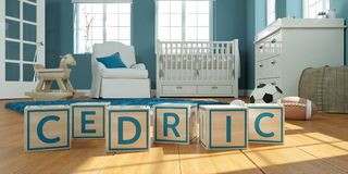 The name cedric written with wooden toy cubes in children`s room. 3D Illustration of the name cedric written with wooden toy cubes in children`s room royalty free illustration