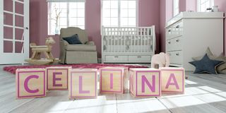 The name celina written with wooden toy cubes in children`s room. 3D Illustration of the name celina written with wooden toy cubes in children`s room Vector Illustration