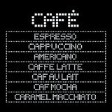 Name of coffee types in square font. Royalty Free Stock Images