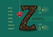 Name Day Greeting Card with Flowers and letter Z stock photos