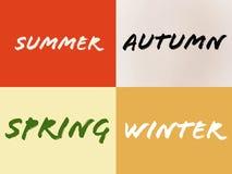 Name des Sommerwinter-Herbstfrühlinges mit vier Jahreszeiten stock abbildung