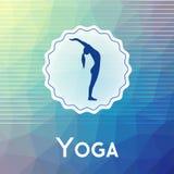 Name des Yogastudios auf einem modernen polygonalen Hintergrund Stockbilder