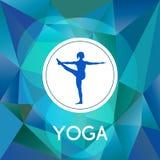 Name des Yogastudios auf einem modernen polygonalen Hintergrund Lizenzfreie Stockbilder