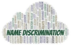 Name Discrimination - type of discrimination - word cloud. Wordcloud made with text only stock illustration