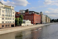 Yakimanskaya Embankment of the Vodootvodnyy Channel Drainage Channel in Moscow in July stock images