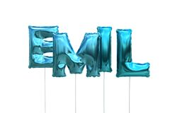 Name emil made of blue inflatable balloons isolated on white background. Name made of blue inflatable balloons isolated on white background 3D Illustration Royalty Free Stock Image