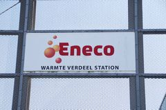 Name of Eneco on a warm water city heating station in Rotterdam Nesselande. Name of Eneco on a warm water city heating station in Rotterdam Nesselande stock photography