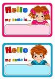 name etiketter för ungar Arkivbild