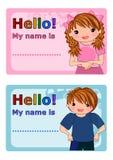 name etiketter för ungar Royaltyfria Bilder