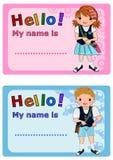 name etiketter för ungar Arkivfoto