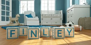The name finley written with wooden toy cubes in children`s room. 3D Illustration of the name finley written with wooden toy cubes in children`s room stock illustration