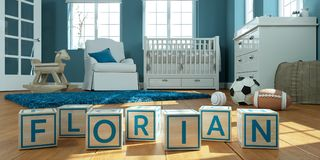 The name florian written with wooden toy cubes in children`s room. 3D Illustration of the name florian written with wooden toy cubes in children`s room royalty free illustration