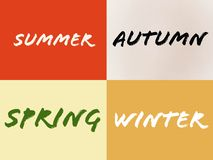Name of four seasons summer winter autumn spring stock illustration