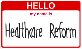 Name healthcare reform. Hello my name is healthcare reform red sticker Stock Photo
