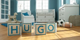 The name hugo written with wooden toy cubes in children`s room. 3D Illustration of the name hugo written with wooden toy cubes in children`s room vector illustration