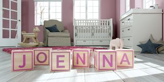 The name joenna written with wooden toy cubes in children`s room. 3D Illustration of the name joenna written with wooden toy cubes in children`s room Royalty Free Illustration