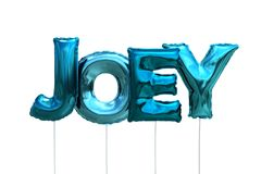 Name joey made of blue inflatable balloons isolated on white background. Name made of blue inflatable balloons isolated on white background 3D Illustration Stock Photo